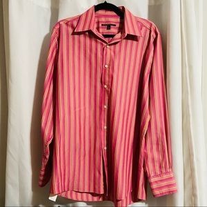 BCBG PINK STRIPED CLASSY BUTTON DOWN